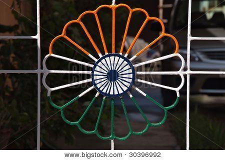 Ornamental Metal Lattice In Indian Flag Colors
