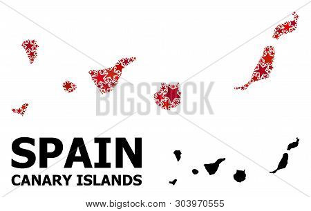 Red Star Mosaic And Solid Map Of Canary Islands. Vector Geographic Map Of Canary Islands In Red Colo