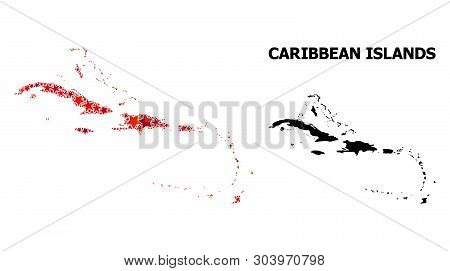 Red Star Mosaic And Solid Map Of Caribbean Islands. Vector Geographic Map Of Caribbean Islands In Re