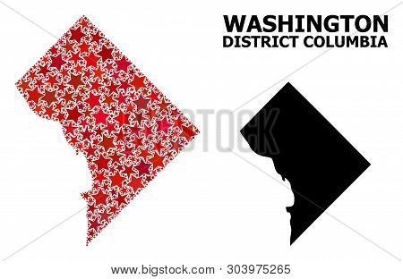 Red Star Mosaic And Solid Map Of District Columbia. Vector Geographic Map Of District Columbia In Re