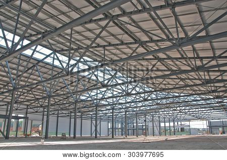 Structure Of Steel For Building Construction. The Steel Structure Of The New Building For Further Co