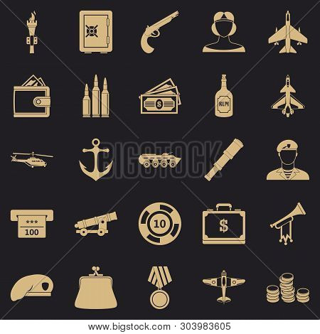 Militant Icons Set. Simple Set Of 25 Militant Vector Icons For Web For Any Design
