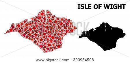 Red Star Pattern And Solid Map Of Isle Of Wight. Vector Geographic Map Of Isle Of Wight In Red Color