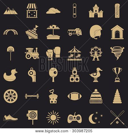 Children Game Icons Set. Simple Style Of 36 Children Game Vector Icons For Web For Any Design
