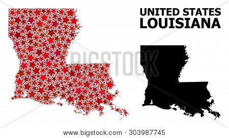 Red Star Pattern And Solid Map Of Louisiana State. Vector Geographic Map Of Louisiana State In Red C