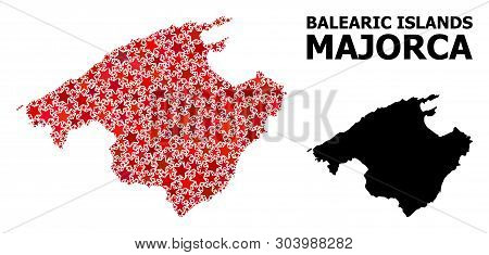 Red Star Mosaic And Solid Map Of Majorca. Vector Geographic Map Of Majorca In Red Color Tints. Abstr