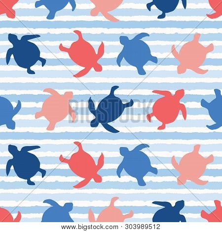 Top View Of Swimming Sea Turtles Pattern. Seamless Vector Sealife Background. Hand Drawn Stripes. Bl