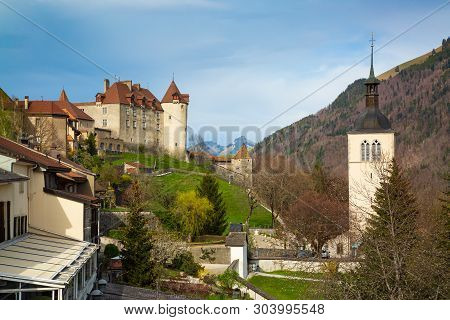 Medieval Town Of Gruyeres And Castle, Canton Of Fribourg, Switzerland