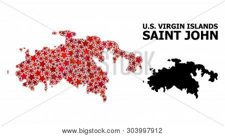Red Star Mosaic And Solid Map Of Saint John Island. Vector Geographic Map Of Saint John Island In Re