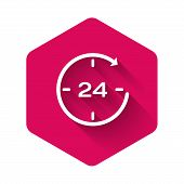 White Clock 24 hours icon isolated with long shadow. All day cyclic icon. 24 hours service symbol. Pink hexagon button. Vector Illustration poster