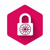 White Safe combination lock wheel icon isolated with long shadow. Combination padlock. Security, safety, protection, password, privacy concept. Pink hexagon button. Vector Illustration poster