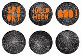 Set of 6 Halloween Party Round Shape Vector Toppers. Scary Hand Drawn White Cobweb on a Black Background. Orange Handrwitten Spooky, Boo and Halloween Text. Scary Stickers. poster