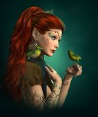 3d computer graphics of an Elven Princess with with two green birds poster