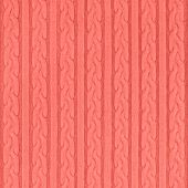 Trendy coral colored Knitwear Fabric Texture with Pigtails and stripes. Repeating Machine Knitting Texture of Sweater. Knitted Background. poster