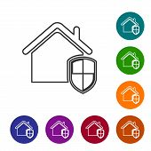 Grey House under protection line icon isolated on white background. Home and shield. Protection, safety, security, protect, defense concept. Set icon in color circle buttons. Vector Illustration poster