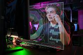 Cyber sport. Team play. Professional cybersport player training or playing online game on his PC poster