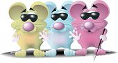 three blind mice each a different color and wearing dark glasses. poster