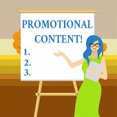 Text sign showing Promotional Content. Conceptual photo persuade target audiences of the merits of a product White Female in Glasses Standing by Blank Whiteboard on Stand Presentation. poster