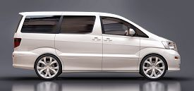 White Small Minivan For Transportation Of People. Three-dimensional Illustration On A Glossy Gray Ba