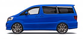 Blue Small Minivan For Transportation Of People. Three-dimensional Illustration On A Glossy Gray Bac