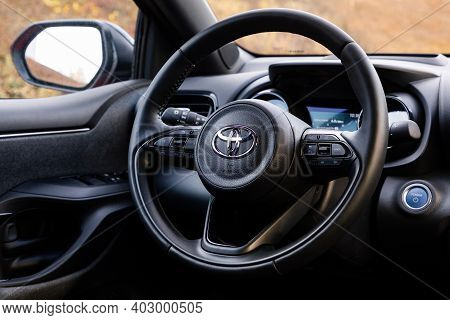 Prague, Czech Republic - December 8, 2020: Steering Wheel Of Toyota Vehicle In Prague, Czech Republi