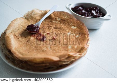 Pancakes On A Plate With Jam, Background, Breakfast