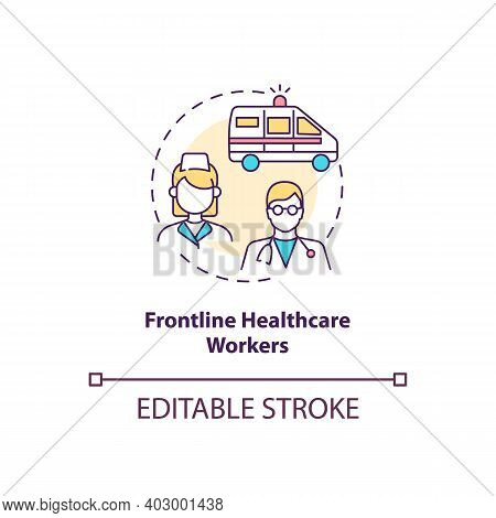 Frontline Healthcare Workers Concept Icon. Covid Vaccination Priority List. Proffesional Medical Sta