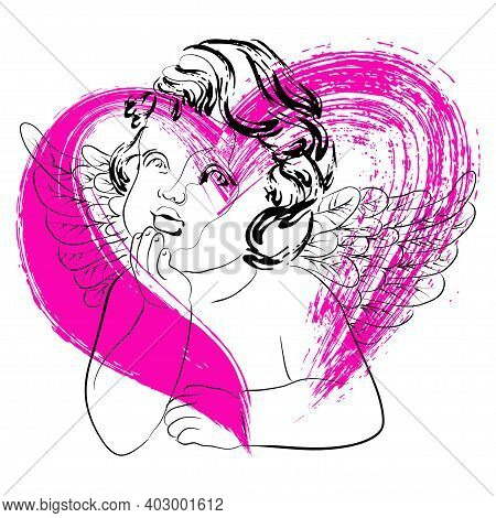 Vector Linear Illustration Of Cute Dreamy Little Cupid With Wings On A Pink Heart Background. Isolat