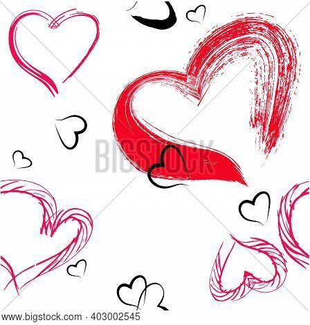 Vector Seamless Pattern From Trendy Red Hearts. Image For Decoration For Valentine's Day.