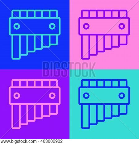 Pop Art Line Pan Flute Icon Isolated On Color Background. Traditional Peruvian Musical Instrument. F
