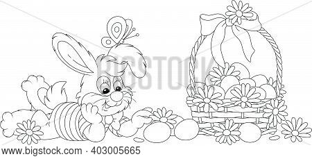 Happy Little Bunny And A Wicker Basket Of Easter Eggs Decorated With Flowers And A Ribbon Bow, Black