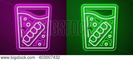 Glowing Neon Line False Jaw In Glass Icon Isolated On Purple And Green Background. Dental Jaw Or Den