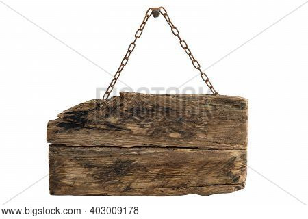 Old Empty Wooden Sign Hanging On A Rusty Chain. Png File With Transparent Background (high Details)