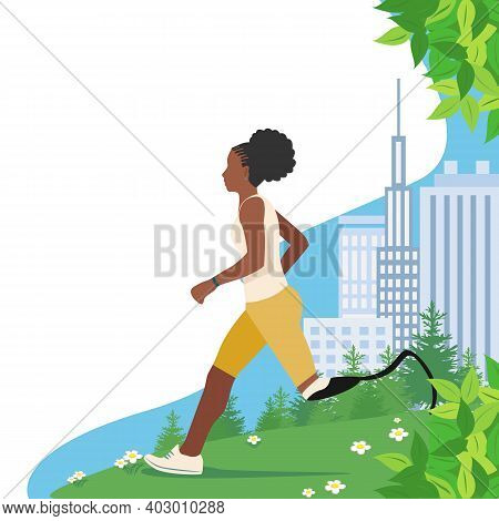 A Black Girl Disabled With A Prosthetic Leg Runs In The Summer In The Park. Motivational Poster. Lim