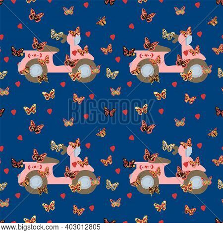 Butterfly And Transport Pattern. Cute Moths With A Pink Bike. The Texture Of The Poster With The Mot