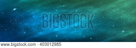 Space Background. Realistic Wide Cosmos Poster. Green Galaxy With Shining Stars. Abstract Starry Neb