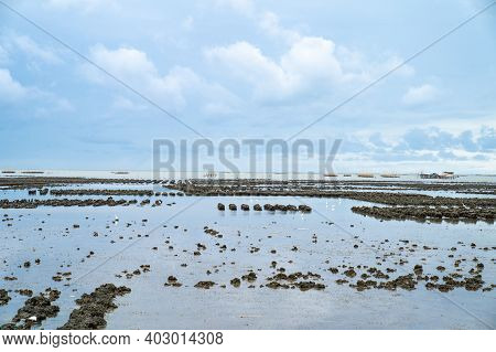 Seascape Of The Sea Water Flowing Downstream In The Afternoon.