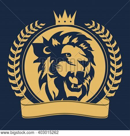 Lion Head With Crown Sign, Royal Cat Profile Icon. Vector
