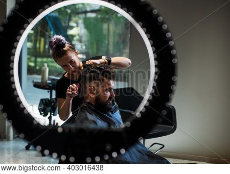 Barber Master Cut Hair. Mature Hipster With Beard At Hairdresser. Hipster With Moustache Making New