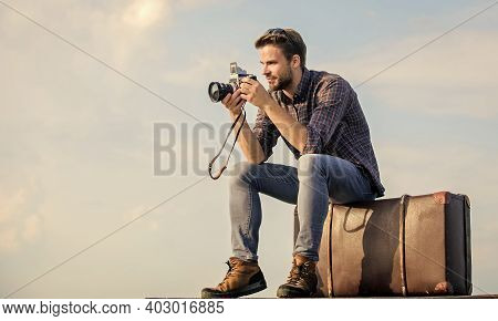 Fuel Your Soul With Travel. Traveler Wait Car. Fashion Style. Looking Trendy. Macho Man With Camera