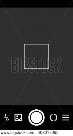 Cell Phone Camera Settings Buttons. Smartphone Screen Interface Dark Frame, Photo Viewfinders Templa