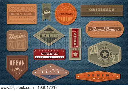 Denim Labels. Graphic Leather Badge And Textured Background, Authentic Embroidery Typography Jeans C