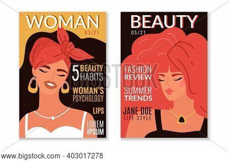 Fashion Magazine Cover Designs. Modern Glamour Design Cover With Model Female Portraits, Beautiful Y
