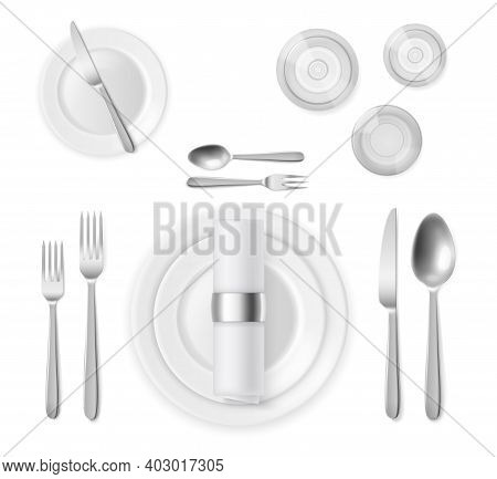 Table Setting Top View. Realistic 3d Silver Cutlery And White Plates, Restaurant Banquet Service, Si