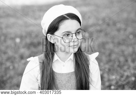 Serious But Imaginative. Serious Girl Think On Natural Landscape. Little Child With Serious Look. Pr