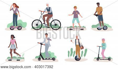 People Riding Ecology Transport. Men And Women Drive Personal Modern Street Transportation, Mobile G