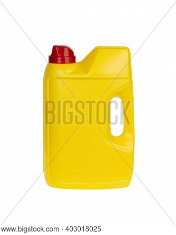 Yellow Plastic Dishwasher Detergent Powder Or Liquid Detergent Container Isolated On White Backgroun