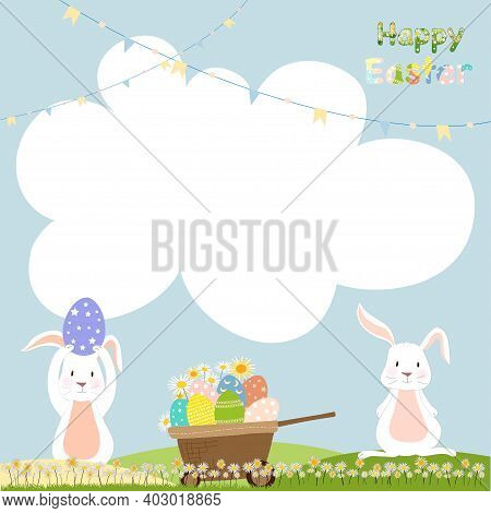Happy Easter Notepad With Bunny Hunting Easter Eggs With Copy Space For Text, Kawaii Cartoon Of Rabb
