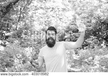Stay Hydrated. Hot Summer Day. Feel Thirsty. Bearded Man Look Happy. Brunette Bearded Man With Water