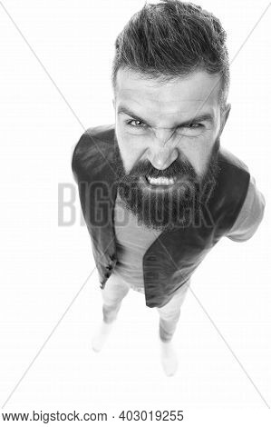 Extremely Mad. Man Aggressive Face Expression Stand White Background. Stressful Day. Stressful Male